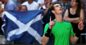 Andy Murray of Britain celebrates after defeating Joao Sousa of Portugal in their men's singles third round match at the Australian Open 2015 tennis tournament in Melbourne. Photograph: Thomas Peter/Reuters