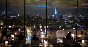 Le Loft,  atop the Sofitel in Vienna, has a projection ceiling designed by Pipilotti Rist, which appears to extend into the skyline by virtue of its reflection
