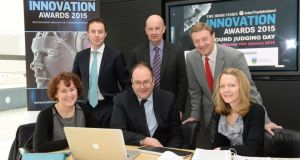 Judges for Innovation Awards 2015 (front, from left) Dr Bernadette McGahon, Tim Brundle and Marion Boland, and back row (from left) Niall Campbell, Pat Daly and Frank Roche. Photograph: Dara Mac Dónaill/The_Irish_Times