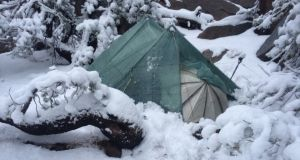 It wasn't all sunshine: Olive McGloin's tent in the snow. Photograph: (c) Olive McGloin