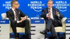 'The overt message was equally simple. Growth is up, unemployment is down and we did it by engaging in a constructive northern European manner with the troika.' Above, Enda Kenny (right) with Alexander Stubb  Prime Minister of Finland, during a panel session of the 45th Annual Meeting of the World Economic Forum (WEF) in Davos, Switzerland.  Photograph: EPA/Laurent Gillieron