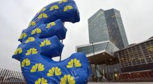 An inflated Euro sign sits in front of the European Central Bank in Frankfurt. Photograph: EPA/Arne Dedert