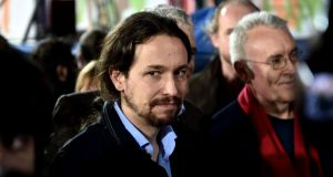 Pablo Iglesias, leader of Podemos, has become a close ally of Alexis Tsipras. Photograph: Aris Messinisaris Messinis/AFP/Getty Images