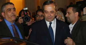 Outgoing Greek prime minister Antonis Samaras. He said he respected the decision of the Greek electorate after official projections showed voters rejecting his conservative New Democracy party in favour of the leftist Syriza. Photograph: Panayiotis Tzamaros