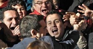 Leader of incoming radical leftist Syriza party Alexis Tsipras is greeted by a sea of supporters in Athens.  Photograph: Alkis Konstantinidis/Reuters