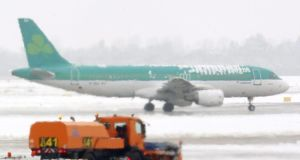 A file image of an Aer Lingus plane at an airport. Photograph: Roland Weihrauch/EPA