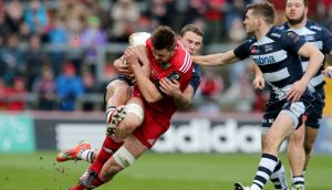 Dave Foley in action for Munster in their Champions Cup clash against Sale at Thomond Park. Photograph:  Ryan Byrne/Inpho