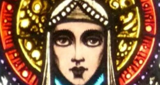 Detail of stained glass by Harry Clarke