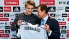 Norway international Martin Odegaard, with Real Madrid's representative Emilio Butragueno, after the teenager signed  for the Spanish giants. Photograph: Andres Kudacki/AP