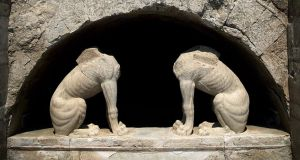 A pair of headless stone sphinxes at an ancient tomb from the end of Alexander the Great's reign, under excavation at Amphipolis. A dig at the tomb in Greece and a possible link to Alexander the Great have captured the nation's imagination. Photograph: Greek Culture Ministry/The New York Times