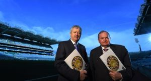 GAA president Liam O'Neill and director general Páraic Duffy at the launch of the director general's annual report in Croke Park, Dublin. Photograph: Paul Mohan/Sportsfile