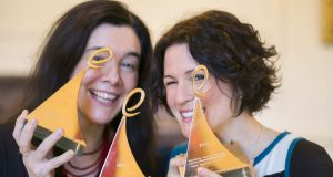 Dr Sandra Collins and Dr Natalie Harrower of the Digital Repository of Ireland (DRI) who won the overall award for the 'Inspiring Ireland' project at the 2014 eGovernment Awards