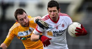 Tyrone's Sean Cavanagh in McKenna Cup action recently. The veteran is named at full forward to face Monaghan at Healy Park. Photograph: Inpho