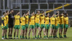 The Donegal players during the National Anthem before their victory over Derry. Photograph: Lorcan Doherty/Inpho