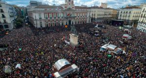 Podemos supporters at Puerta del Sol square: Saturday's event was unusual in that it made no specific demands of the government. Photograph: David Ramos/Getty Images