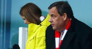 Chris Christie, governor of New Jersey, at a match between Arsenal and Aston Villa at the Emirates Stadium in London, on Sunday. Photograph: Eddie Keogh/Reuters