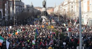 Anti-water-charge protesters demonstrating in Dublin on Saturday. There was one arrest during more than 20 protests against water charges aroundthe country. Photograph: Stephen Collins/Collins Photos