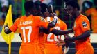 Ivory Coast's Wilfried Bony (right) was the game's standout player. Photograph: Amr Abdallah Dalsh/Reuters