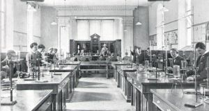 Days gone by - students in the science lab in St Pat's, 1908