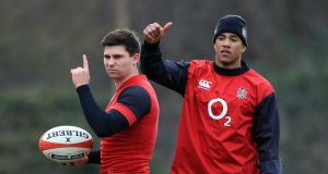 England's Ben Young's (left) and Anthony Watson during the Captain's Run at Pennyhill Park Hotel, Surrey. Photograph: Gareth Fuller/PA