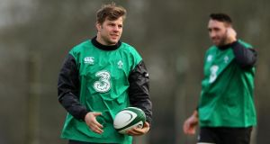 Leinster's Jordi Murphy  is in line to start at number eight for Ireland against Italy. Photograph: Ryan Byrne/Inpho