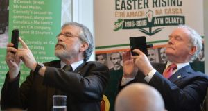 Gerry Adams and Martin McGuinness at the Sinn Féin launch of their 1916 Commemoration Plans at Wynn's Hotel off Dublin's O'Connell Street. Photograph: Alan Betson