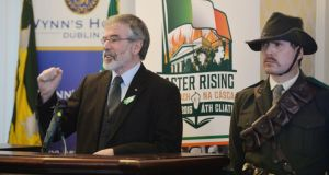 Gerry Adams at the of Sinn Féin launch of their 1916 Commemoration Plans at Wynn's Hotel off Dublins O'Connell Street. Photograph: Alan Betson