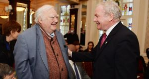 Tim Pat Coogan with Martin McGuinness at the Sinn Féin launch of their 1916 Commemoration Plans. Photograph: Alan Betson