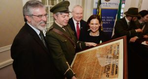Gerry Adams, re-enactor Jim Roche, Martin McGuinness and Mary Lou McDonald at the Sinn Féin launch of their 1916 Commemoration Plans. Photograph: Alan Betson