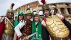 Daughter and mother, Ginnie and Liz Power from Maynooth, Co Kildare with Roman Gladiators. Photograph: Ryan Byrne/Inpho