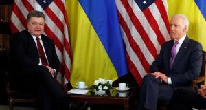 Ukraine's president Petro Poroshenko meets US vice president Joe Biden (right) in Munich on Saturday. Photograph: Reuters
