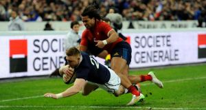 Dougie Fife scored Scotland's only try as they were beaten 15-8 by France in their Six Nations opener at the Stade De France. (Photograph: Andrew Matthews/PA Wire)