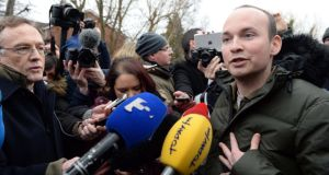Socialist TD Paul Murphy  speaking on his release  from Terenure Garda station , Dublin. Photograph: Eric Luke / The Irish Times