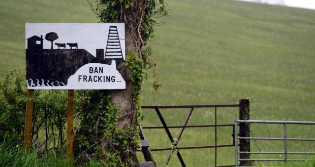 Anti-fracking sign  near Belcoo, Co Fermanagh. Photograph: Bryan O'Brien