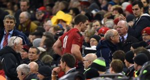 Wales winger George North should not have remained on the field of play following a head impact in the 61st minute of the Wales versus England RBS Six Nations match, World Rugby has announced in a statement. Photograph: Joe Giddens/PA