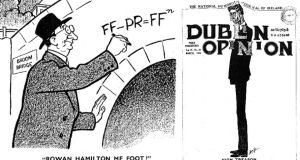 "Eamon de Valera was often the butt of Dublin Opinion's satire. When he sought to  replace PR with the ""straight vote"" system, this cartoon, capitalising on de Valera's reputation as a maths genius, had him standing at Broom Bridge in Dublin – famously associated with Rowan Hamilton's discovery of the formula for quaternion multiplication – and chalking up on the side of the bridge this formula: FF - PR = FF to the power of N. The March 1925 issue featured a full-length portrait of de Valera, so tall that his head pushes the top border of the cartoon upwards and distorts the text above it, with the caption ""High Treason"""
