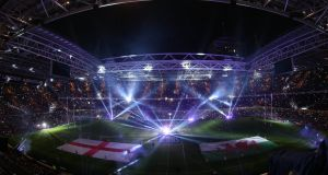 <b>Wales 16-21 England:</b>The light show at the Millennium Stadium, Cardiff ahead of the opening game of the 2015 Six Nations. <br> Photograph: INPHO/James Crombie