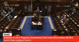 The Dáil is voting on the TD Clare Daly's Bill allowing for abortion in cases of fatal foetal abnormalities.