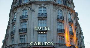 "Fourteen people in all, including Dominique Strauss-Kahn, are defendants in the ""Carlton Affair"" trial, so named after the hotel in Lille that sparked the investigation into a sex ring. Photographer: Jasper Juinen/Bloomberg"