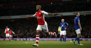 Theo Walcott doubled Arsenal's lead in their 2-1 win over Leicester City at the Emirates. (Photograph: ADRIAN DENNIS/AFP/Getty Images)