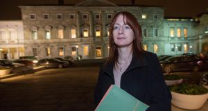 Clare Daly outside Leinster House following the defeat of the Fatal Foetal Abnormality Bill. Photograph: Fergal Phillips
