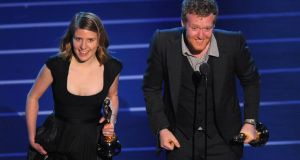 Winners: Markéta Irglová and Glen Hansard onstage after winning Oscars for their song Falling Slowly, in 2008. Photograph: Michael Caulfield/WireImage/Getty