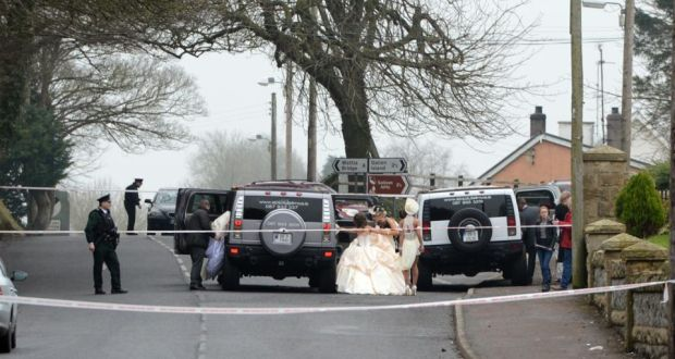 Members Of A Wedding Party Leave Church In Newtownbutler Co Fermanagh After Shooting
