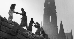 Rebuilding: women salvage bricks from the rubble of Dresden in 1946. Photograph: Fred Ramage/Keystone/Getty