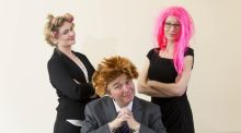 Hair-raising campaign: John McCormack with fundraisers Sinead Gillespie (left) and Justine O'Donnell. Photograph: Andres Poveda
