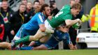 Ireland's Andrew Trimble will miss the rest of the season with a toe injury.  Photograph: Billy Stickland / Inpho