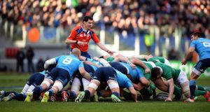 Players push in a scrum during the Six Nations  match between Italy and Ireland at the Olympic Stadium in Rome. Photograph: Filippo Monteforte/AFP/Getty Images