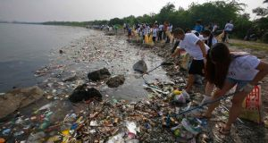 Between 15 per cent and 40 per cent of dumped plastic enters the ocean each year, according to a survey in the journal 'Science'. Photograph: Erik De Castro/Reuters