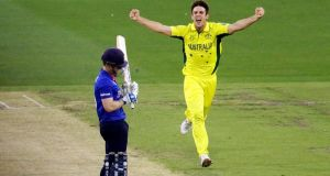 England captain Eoin Morgan was dismissed by Mitchell Marsh for yet another duck as Australia cruised to victory in their World Cup opener. (Photogaph: REUTERS/Hamish Blair)