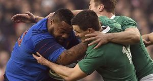 Ireland outhalf Jonathan Sexton tackles France centre  Mathieu Bastareaud  during the Six Nations  match  at the Aviva Stadium in Dublin. Photograph: Franck Fife/AFP/Getty Images